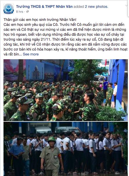 Cô hiệu trưởng viết tâm thư cảm ơn học sinh sau vụ cháy trường học ở Sài Gòn - Ảnh 1