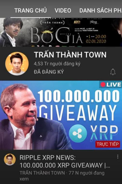 Trấn Thành bị hack kênh YouTube có hơn 4,5 triệu lượt đăng ký - Ảnh 1