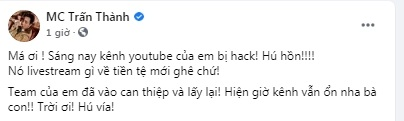 Trấn Thành bị hack kênh YouTube có hơn 4,5 triệu lượt đăng ký - Ảnh 2