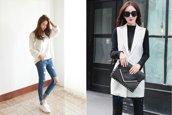 Cách phối áo thun dài tay với quần jean đẹp mà năng động