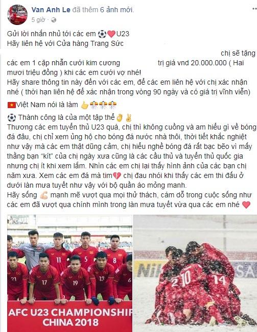 Vợ đại gia Chu Đăng Khoa tặng nhẫn kim cương cho các cầu thủ U23 Việt Nam - Ảnh 1