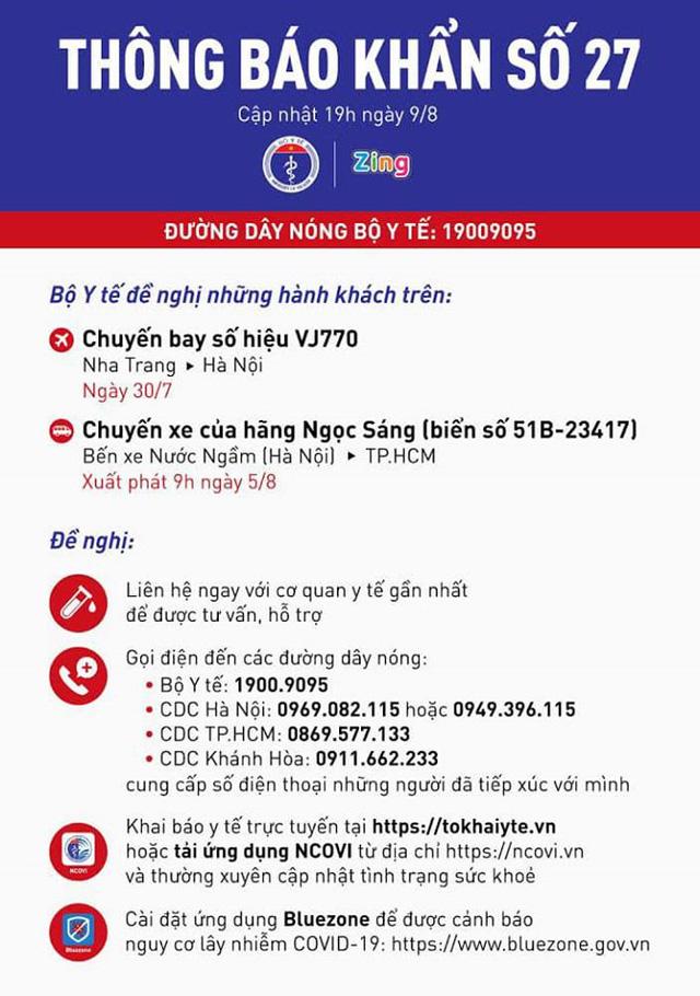 Bộ Y tế tìm hành khách trên chuyến bay VJ770 từ Nha trang đến Hà Nội (ngày 30/7) và xe khách Ngọc Sáng từ Hà Nội đi TPHCM (ngày 5/8) - Ảnh 1