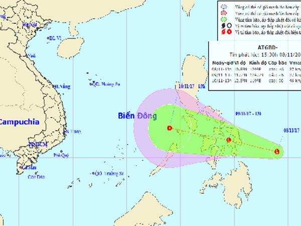 Bão Damrey vừa tan, áp thấp nhiệt đới lại sắp vào Biển Đông - Ảnh 1