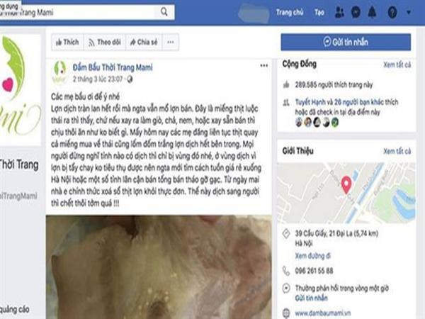 Chủ trang Facebook đăng tin thất thiệt về dịch tả lợn châu Phi có thể bị phạt 20 triệu đồng