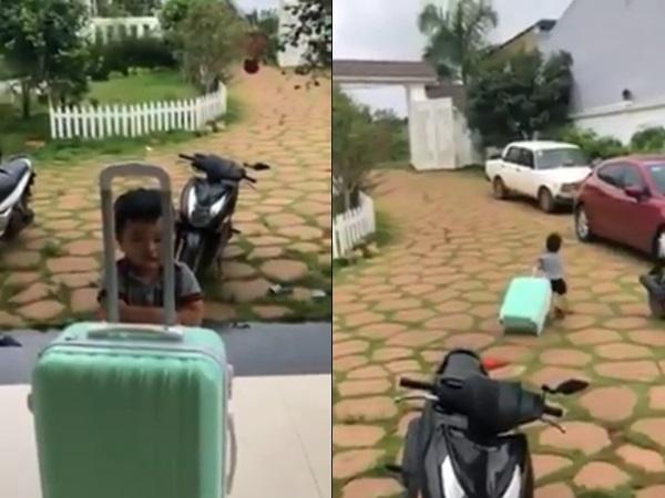 Clip bé trai giận dỗi vác vali bỏ nhà ra đi được cư dân mạng rần rần chia sẻ vì quá đáng yêu
