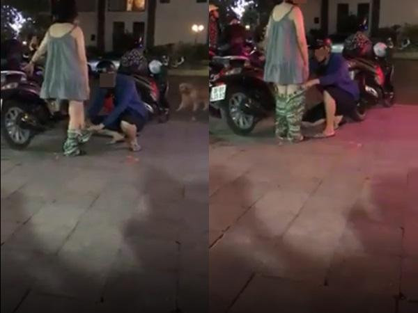 Clip chồng mặc quần cho vợ bầu ngay giữa phố đông người gây xôn xao