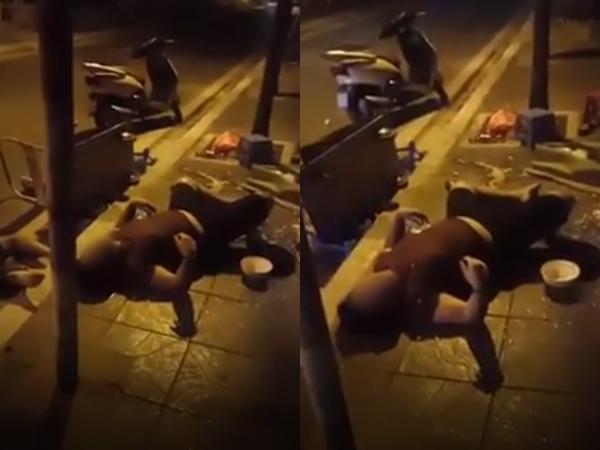 """Clip nam thanh niên """"lặn ngụp"""" giữa đường, mếu máo kêu """"cứu tao"""" trong tình trạng không tỉnh táo khiến nhiều người hoảng hốt"""