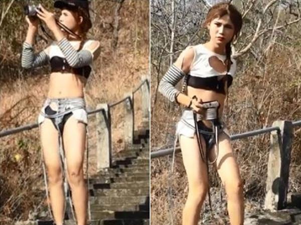 Cô gái mặc quần áo rách rưới, lộ cả nội y đi leo núi khiến ai nấy đều sốc nặng