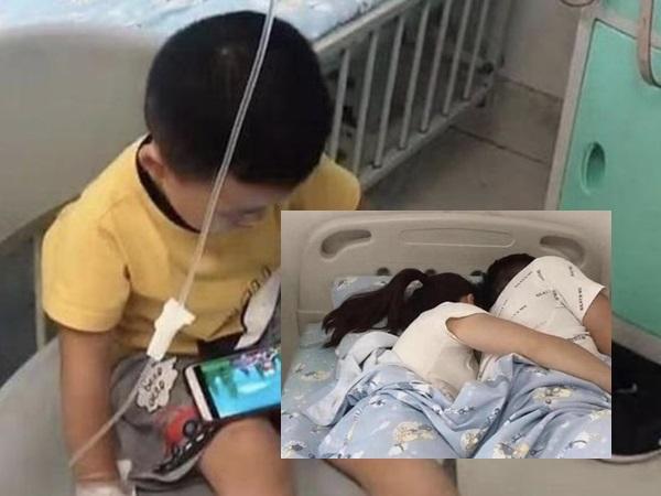 Con mắc bệnh, bố mẹ cho xem điện thoại rồi thản nhiên làm chuyện 'đỏ mặt' ngay trong phòng bệnh nhi