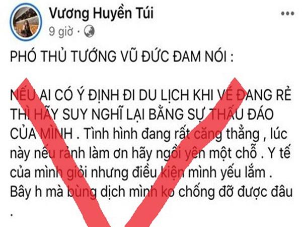 Đăng tin không đúng về Covid-19, một trường hợp ở Huế bị phạt 7,5 triệu đồng