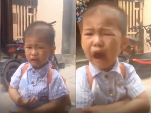 Clip bé trai khóc ròng tạm biệt người thân trong ngày đầu tiên đi học khiến dân mạng vừa thương vừa buồn cười