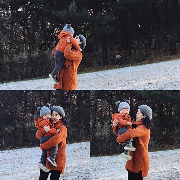 Hình ảnh hạnh phúc của Ly Kute và bé Khoai Tây tại xứ sở Kim Chi