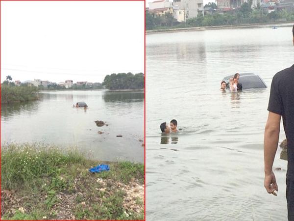 Cho vợ tập lái xe, cả ba người lao xuống hồ ở Đại học Nông Lâm - Bắc Giang