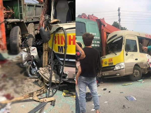 Kinh hoàng cảnh xe khách 29 chỗ va chạm với container và xe tải, nhiều người thương vong