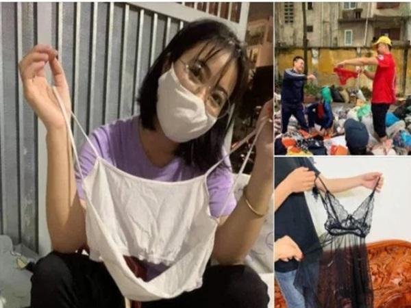 Loạt ảnh quần áo ủng hộ miền Trung gây tranh cãi, có cả áo hai dây, quần rách đũng