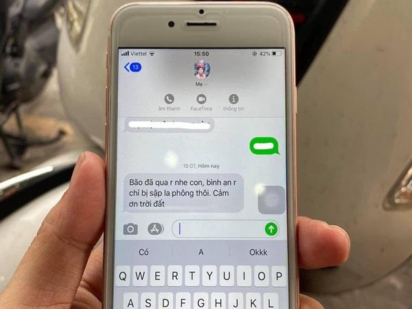 Nghẹn ngào dòng tin nhắn sau bão mẹ gửi cho con đi học xa nhà: Chỉ sập la phông thôi, cảm tạ trời đất!