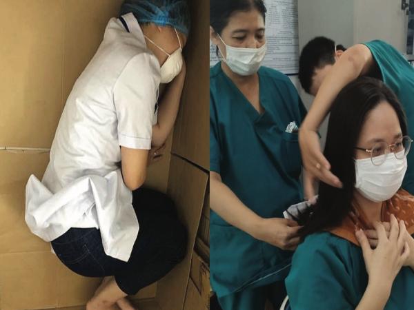 """""""Rúm người"""" ngủ vội trên bìa các tông, cắt tóc ngắn phục vụ điều trị bệnh nhân Covid-19: Loạt hình ảnh chân thực nhất về y bác sĩ Đà Nẵng nơi tuyến đầu chống dịch"""