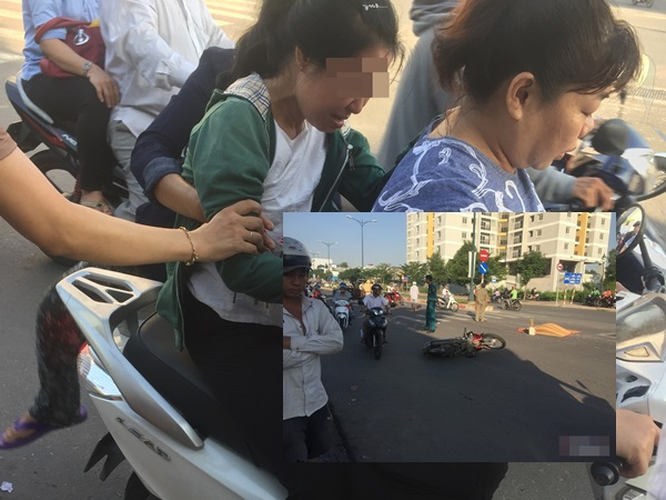 Thợ hồ bị xe đưa rước học sinh tông tử vong ở Sài Gòn: Đau lòng cảnh người vợ khóc ngất cạnh thi thể chồng