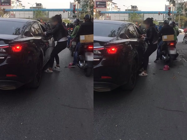 'Biến' đánh ghen: Bắt quả tang chồng chở 'tiểu tam', vợ bất lực kéo chồng ra khỏi ô tô