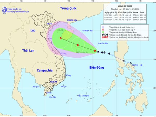 Vùng áp thấp trên biển Đông đang tiếp tục mạnh lên