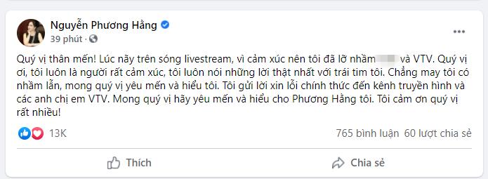 Sau livestream 'sướt mướt' cùng ông Dũng 'lò vôi', bà Phương Hằng lập tức xin lỗi nhà đài VTV - Ảnh 3