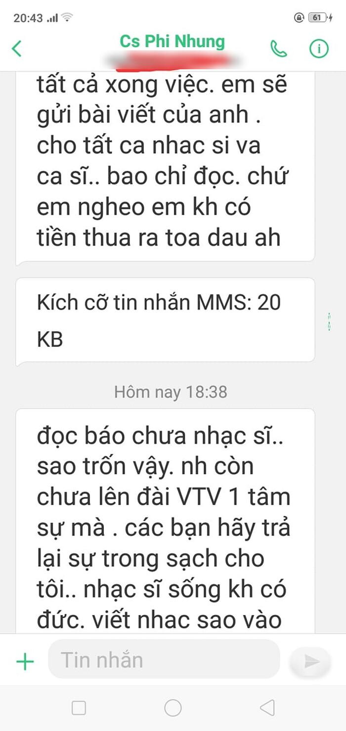 Nhạc sĩ Hồng Xương Long tung tin nhắn tố bị phía Phi Nhung uy hiếp, tiết lộ ekip Phi Nhung 'xin lỗi vì bức xúc nên lỡ lời' - Ảnh 4