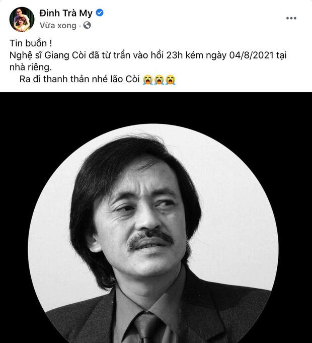 Trà My, Minh Tiệp và dàn sao Việt bàng hoàng nghe tin NS Giang Còi qua đời: Vĩnh biệt anh, mãi mãi 1 tuổi thơ! - Ảnh 1