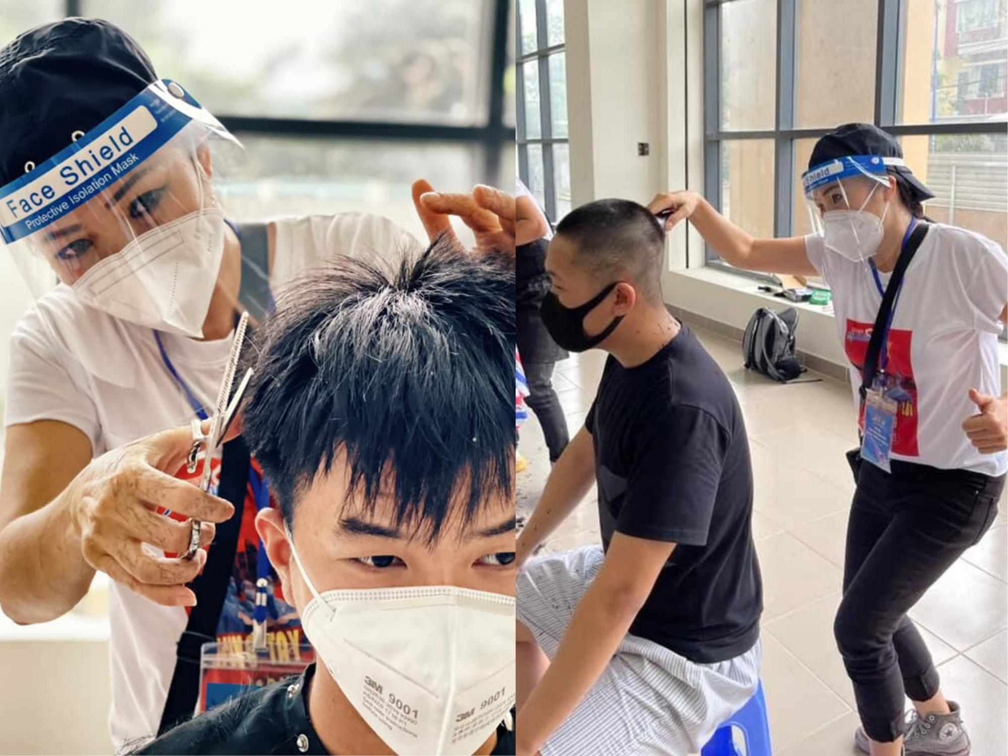 Làm thợ tóc 'bất đắc dĩ' tại khu cách ly, Phương Thanh tự tin khoe thành quả 'không chỗ chê' khi tạo kiểu cho các y, bác sĩ
