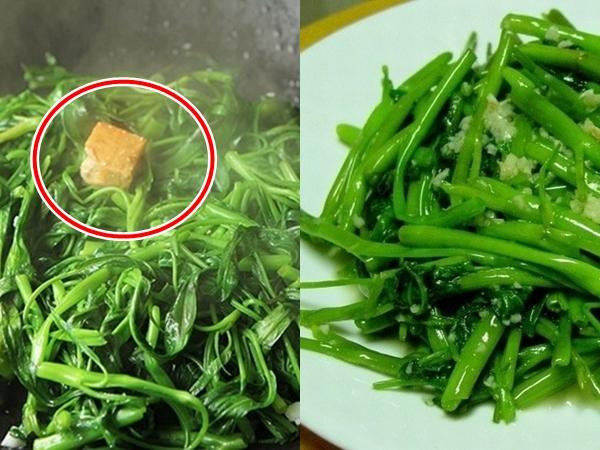 Rau muống xào đừng quên thêm nguyên liệu này để rau xanh mướt, giòn ngon