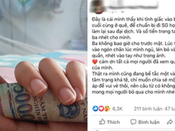 Người cha dúi từng đồng tiền vào tay con gái lúc con say ngủ trước khi lên đường ra thành phố nhập học khiến dân mạng xúc động ứa nước mắt