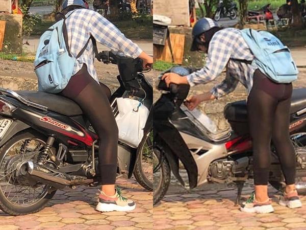 Cô gái mặc quần tất mỏng dính, lộ nội y phản cảm giữa bàn dân thiên hạ