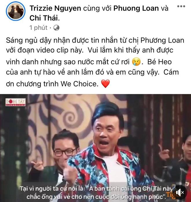 Phản ứng của ca sĩ Phương Loan khi xem clip tri ân cố nghệ sĩ Chí Tài tại Gala WeChoice 2020 - Ảnh 1