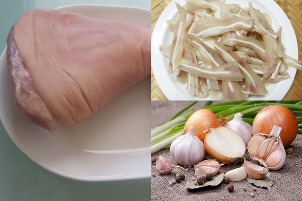 Chuẩn bị nguyên liệu làm món chân giò rút xương