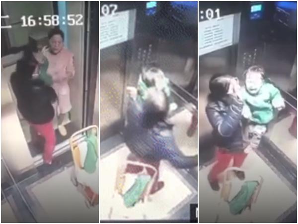 Clip: Mẹ vừa rời mắt, con gái bị người giúp việc đánh đập 14 lần trong thang máy