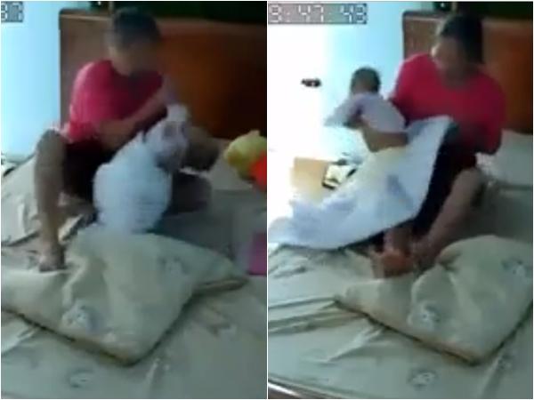 Rùng mình với clip người giúp việc bạo hành bé 3 tháng tuổi vì ru ngủ không được