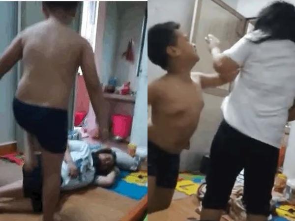 Clip bé trai 10 tuổi đánh đấm mẹ như bao cát khiến dân mạng bức xúc