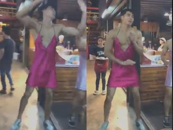 """Các anh trai phục vụ mặc váy tại Thái Lan đã quay trở lại, lần này diện hẳn đầm lụa hồng sexy giúp khách """"quẩy"""" tung xòe tại quán"""
