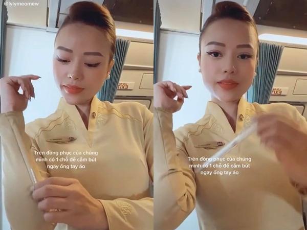 """Chiếc áo dài đồng phục của tiếp viên Vietnam Airlines rất đơn giản nhưng phần tay áo lại có một ngăn bí mật để """"giấu"""" vật dụng cần thiết trên mỗi chuyến bay"""