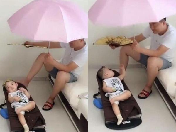 Vợ dặn chồng trông con, khi về nhà bắt gặp cảnh 'hưởng thụ gió biển' không thể nhịn cười