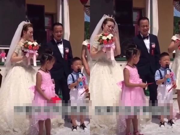 Dì lấy chồng, cháu trai 4 tuổi 'dằn mặt' chú rể trong đám cưới khiến cả hội trường cười ngất