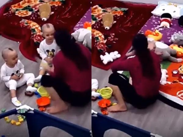 Clip bé trai Hà Nội bị bảo mẫu U60 tát sấp mặt, quăng quật như món đồ chơi vì khóc nhè