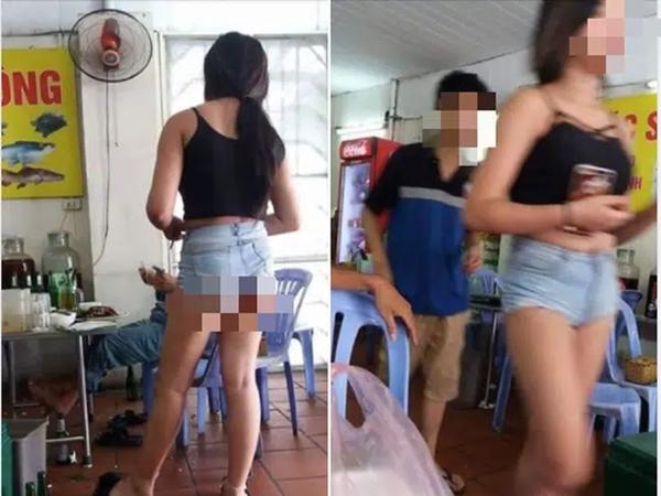 """Hè nắng nóng, mặc quần đùi siêu ngắn phục vụ tại quán ăn, cô gái """"hớ hênh"""" khiến dân mạng ngao ngán"""