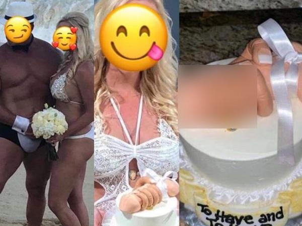 Cô dâu mặc bikini khiến vòng 1 chỉ chực trào ra ngoài, nhìn sang bánh cưới còn sốc nặng hơn
