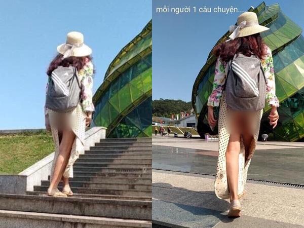 Hình ảnh cô gái ăn mặc hớ hênh, khoe trọn vòng 3 phản cảm khi đi du lịch Đà Lạt khiến CĐM dậy sóng