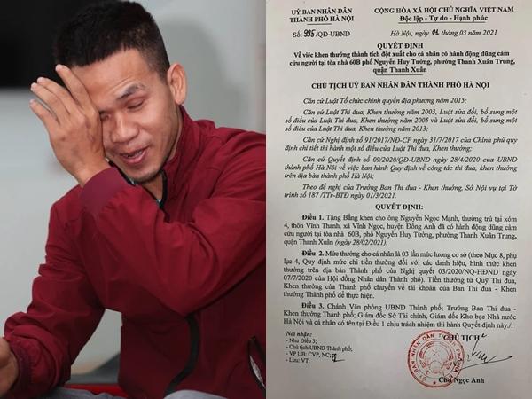 Lộ mức thưởng của người hùng giải cứu cháu bé rơi từ tầng 13 chung cơ ở Hà Nội