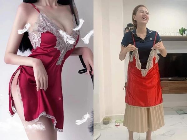 Mua váy ngủ gợi cảm, cô gái không ngờ shop lại chuyển nhầm 'size tạp dề', hình ảnh sau khi mặc không khác gì pha tấu hài chuyên nghiệp
