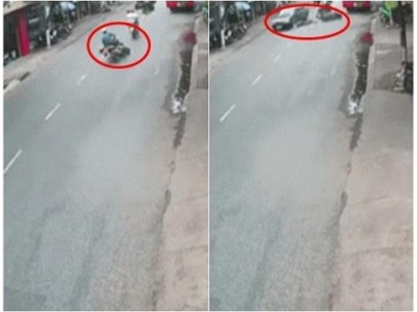 Phóng cực nhanh, thanh niên chạy xe máy bỗng ngã xuống đường rồi bị ô tô cán qua người