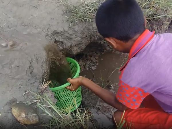 Sau cơn mưa lớn, bé trai dùng sọt hứng nước bùn ai ngờ thu về chiến lợi phẩm khó tin