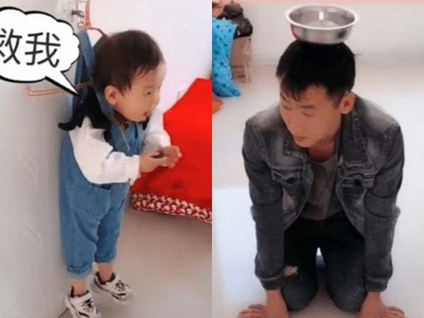 Bố trẻ đội bát quỳ dưới đất còn con trai bị móc treo lên tường, biết lý do ai nấy đều cười ná thở