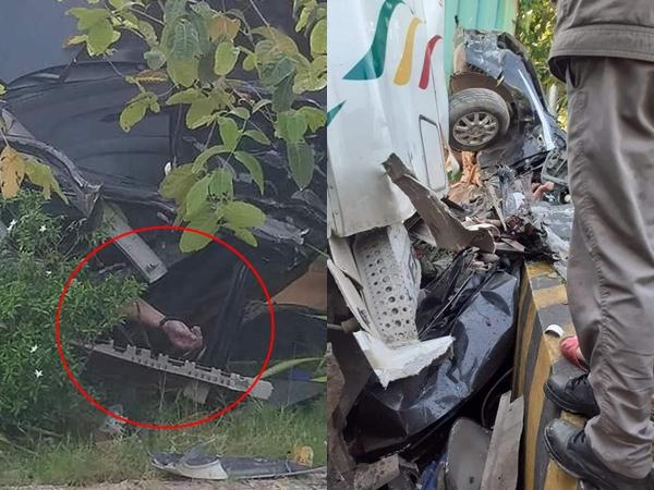 Tây Ninh: Container đâm ô tô nát bét, 3 nạn nhân bẹp dúm tử vong tại chỗ